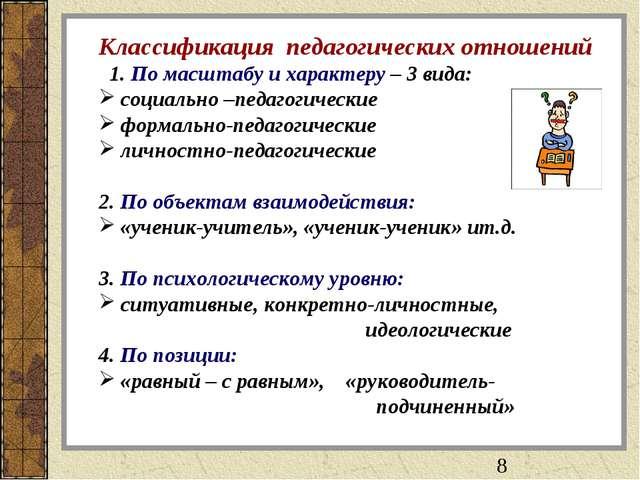 Классификация педагогических отношений 1. По масштабу и характеру – 3 вида: с...