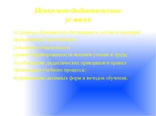 Психолого-дидактические условия 1)уровень обученности обучающихся, соотве