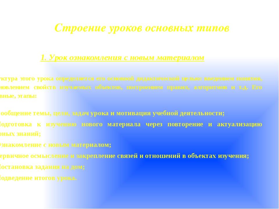 Строение уроков основных типов 1. Урок ознакомления с новым материалом  Стру...