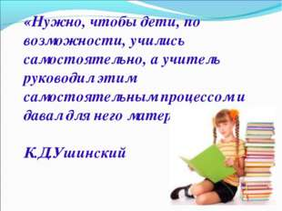 «Нужно, чтобы дети, по возможности, учились самостоятельно, а учитель руковод