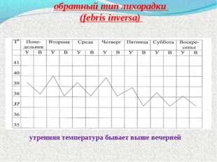 обратный тип лихорадки (febris inversa) утренняя температура бывает выше веч