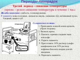 Периоды лихорадок Третий период – снижения температуры (кризис – резкое сниже
