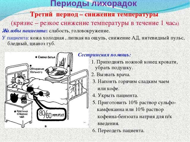 Периоды лихорадок Третий период – снижения температуры (кризис – резкое сниже...