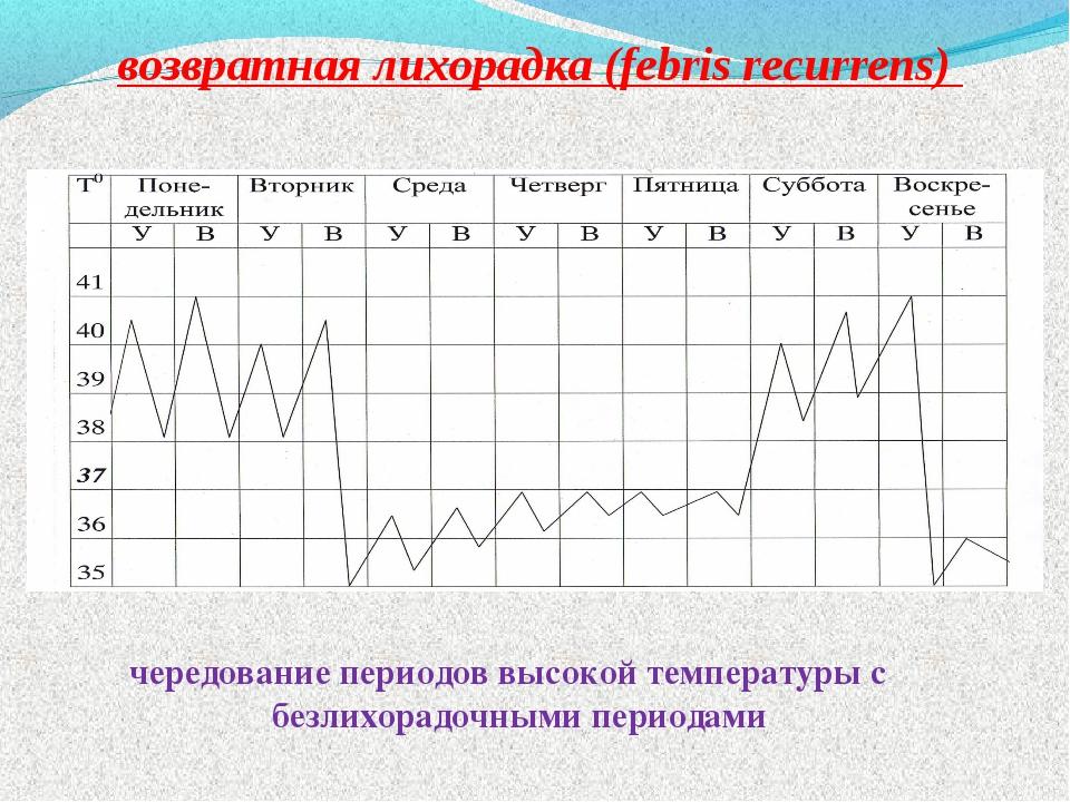возвратная лихорадка (febris recurrens) чередование периодов высокой температ...