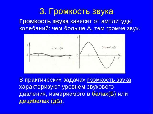 3. Громкость звука Громкость звука зависит от амплитуды колебаний: чем больш...