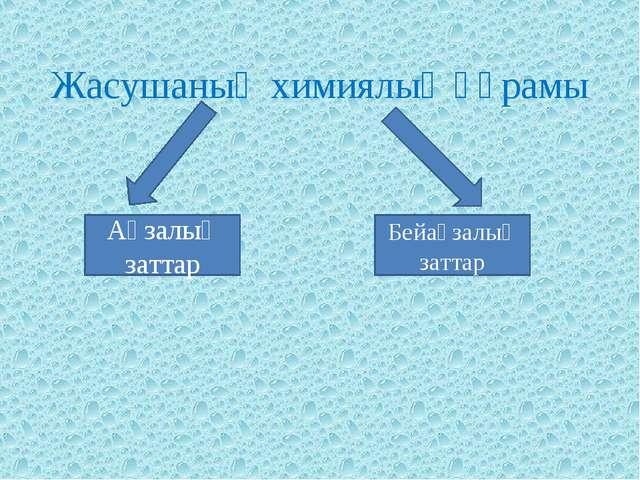 Жасушаның химиялық құрамы Ағзалық заттар Бейағзалық заттар