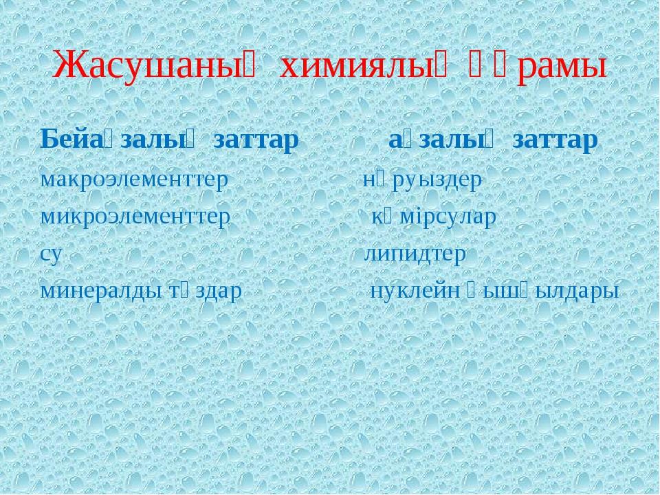 Жасушаның химиялық құрамы Бейағзалық заттар ағзалық заттар макроэлементтер нә...