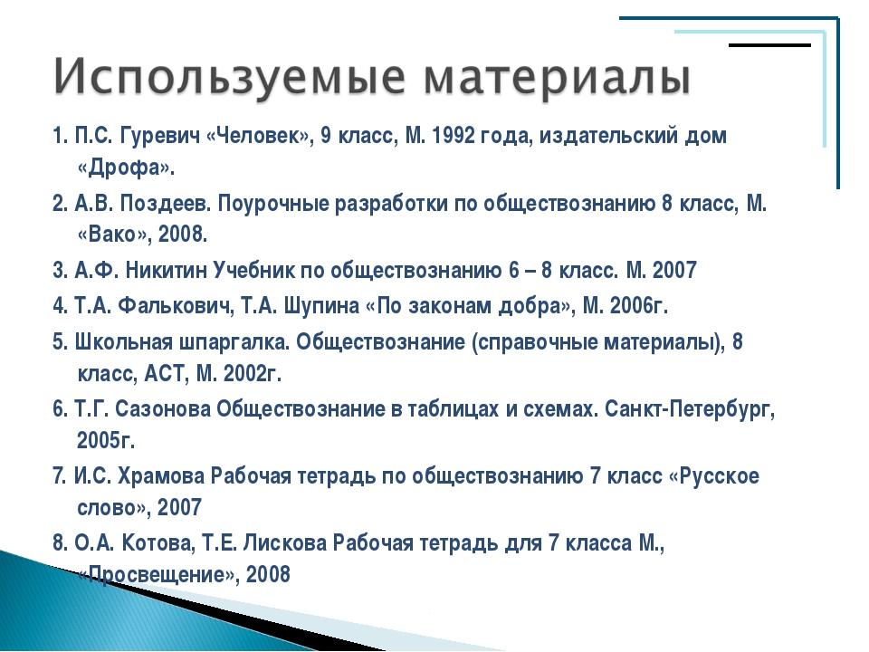 1. П.С. Гуревич «Человек», 9 класс, М. 1992 года, издательский дом «Дрофа». 2...