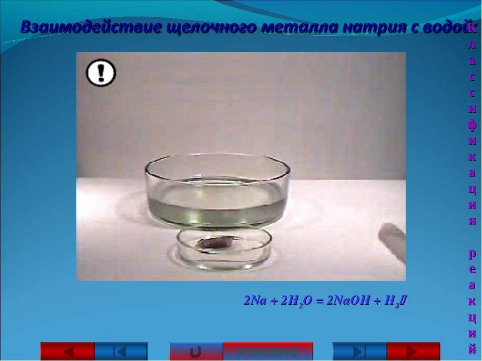 2Na + 2H2O = 2NaOH + H2 ОГЛАВЛЕНИЕ Классификация реакций