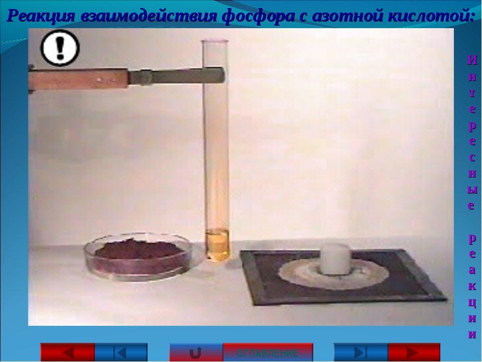 Реакция взаимодействия фосфора с азотной кислотой: ОГЛАВЛЕНИЕ Интересные реак...