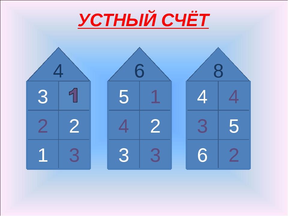 УСТНЫЙ СЧЁТ 3 3 1 2 2 4 5 1 3 3 2 4 6 4 4 2 6 5 3 8
