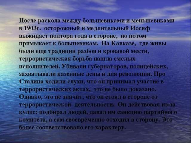 После раскола между большевиками и меньшевиками в 1903г. осторожный и медлите...