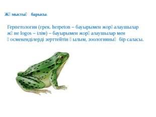 Жұмыстың барысы: Герпетология (грек. herpeton – бауырымен жорғалаушылар және