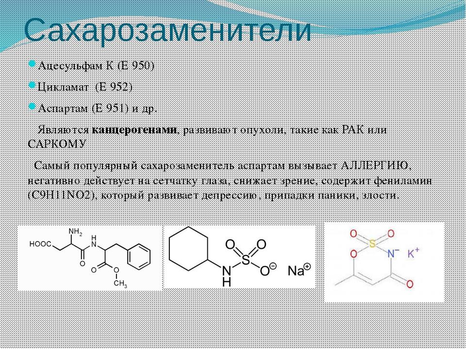 Сахарозаменители Ацесульфам К (Е 950) Цикламат (Е 952) Аспартам (Е 951) и др....