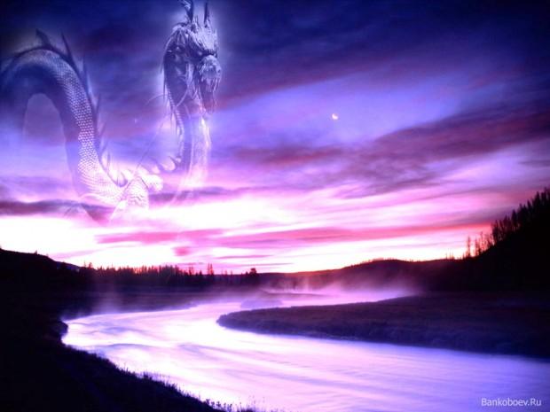 Банк Обоев.Ru - обои для рабочего стола Девушка с мечем у реки и дракон в небе, скачать обои на рабочий стол Девушка с мечем у р