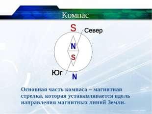 Компас Основная часть компаса – магнитная стрелка, которая устанавливается в