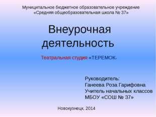 Внеурочная деятельность Театральная студия «ТЕРЕМОК» Муниципальное бюджетное