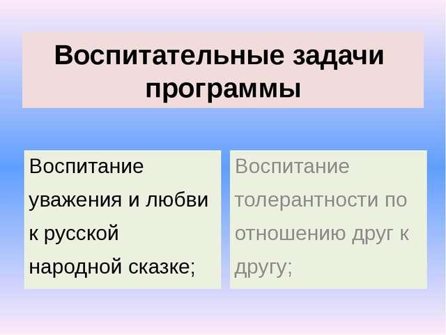Воспитательные задачи программы Воспитание уважения и любви к русской народно...