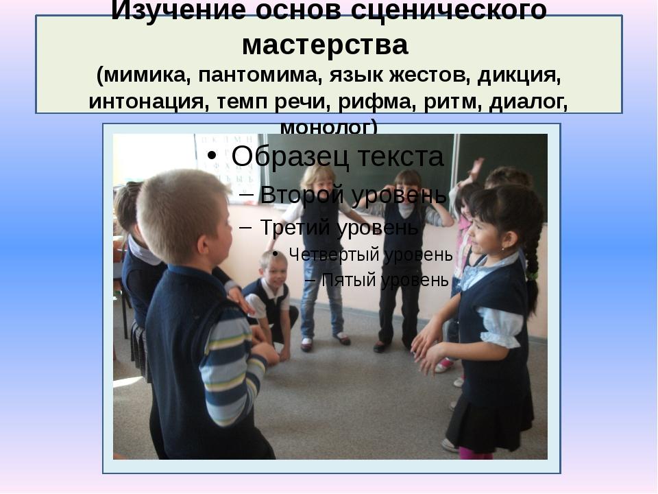 Изучение основ сценического мастерства (мимика, пантомима, язык жестов, дикц...