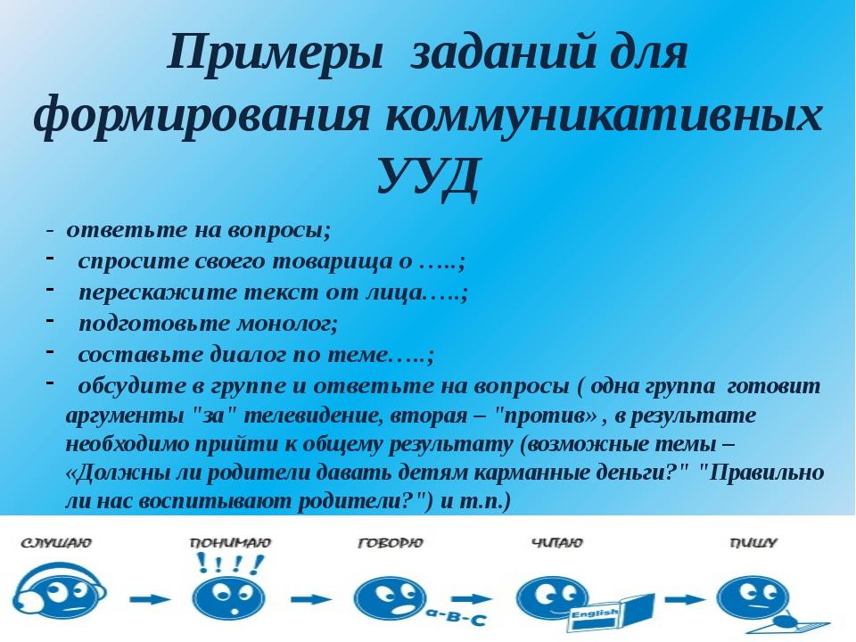 Примеры заданий для формирования коммуникативных УУД - ответьте на вопросы; с...