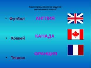 Какие страны являются родиной данных видов спорта? Футбол Хоккей Теннис АНГЛ