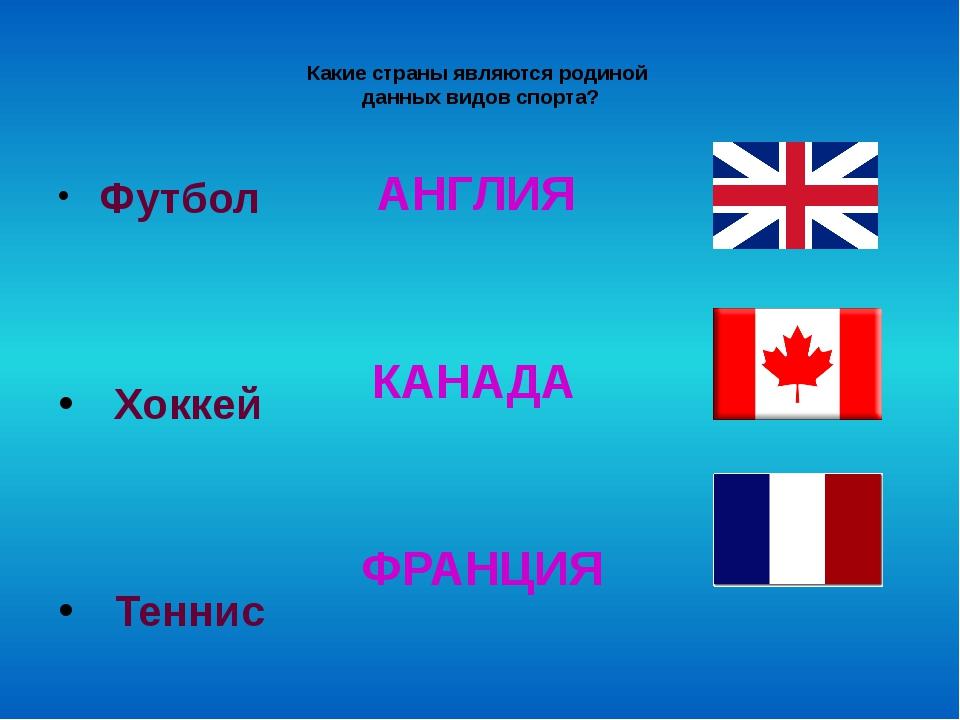 Какие страны являются родиной данных видов спорта? Футбол Хоккей Теннис АНГЛ...
