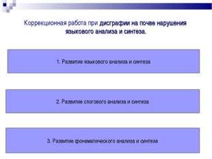 Коррекционная работа при дисграфии на почве нарушения языкового анализа и син