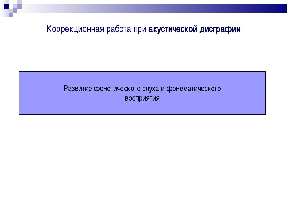 Коррекционная работа при акустической дисграфии Развитие фонетического слуха...