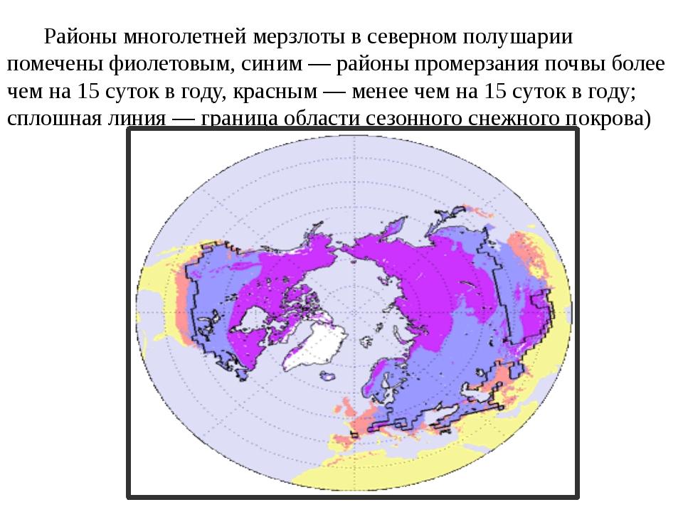 Районы многолетней мерзлоты в северном полушарии помечены фиолетовым, синим...