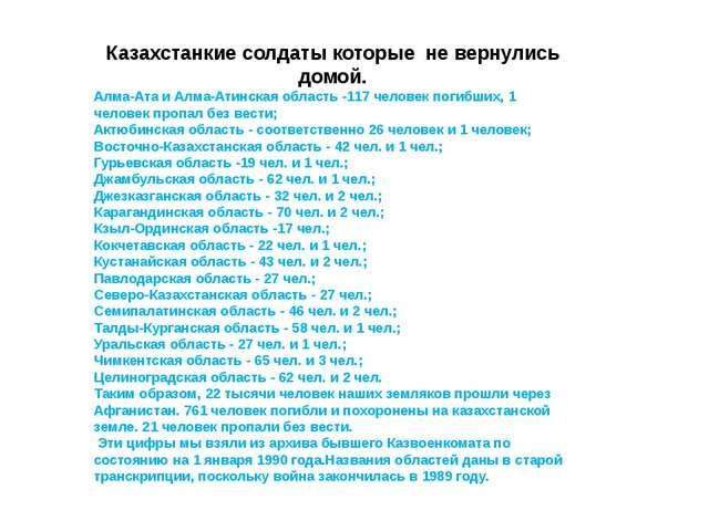 Казахстанкие солдаты которые не вернулись домой. Алма-Ата и Алма-Атинская обл...