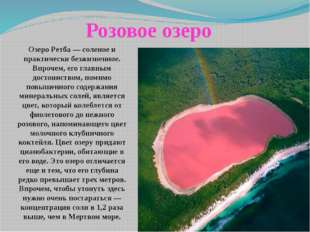 Озеро Ретба — соленое и практически безжизненное. Впрочем, его главным досто