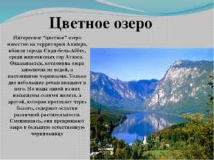 """Интересное """"цветное"""" озеро известно на территории Алжира, вблизи города Сиди-"""