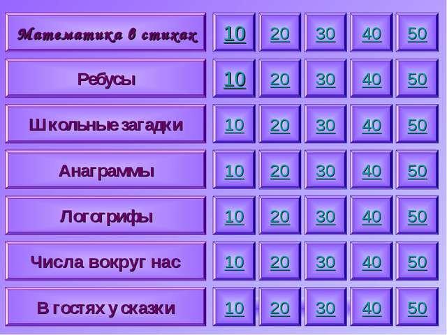 Математика в стихах Ребусы Школьные загадки Анаграммы Логогрифы Числа вокруг...