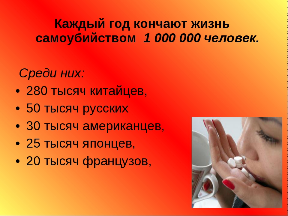 Каждый год кончают жизнь самоубийством 1 000 000 человек. Среди них: 280 тыся...