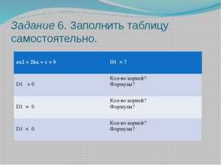Задание 6. Заполнить таблицу самостоятельно. ax2+ 2kx + c = 0 D1=? D1> 0 Кол-