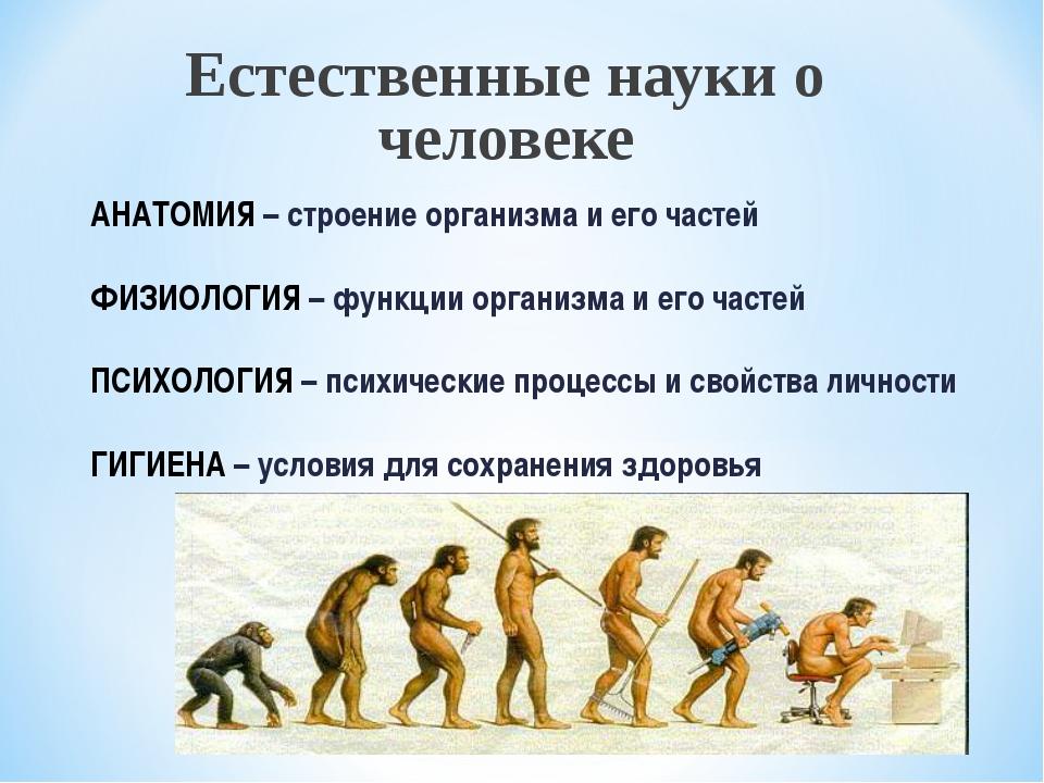 Естественные науки о человеке АНАТОМИЯ – строение организма и его частей ФИЗИ...