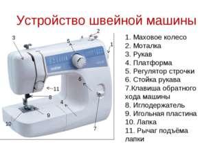 Устройство швейной машины 1 2 3 4 5 6 7 8 9 10 1. Маховое колесо 2. Моталка 3