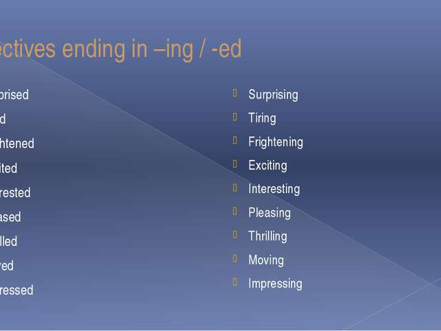 Adjectives ending in –ing / -ed Surprised Tired Frightened Excited Interested...