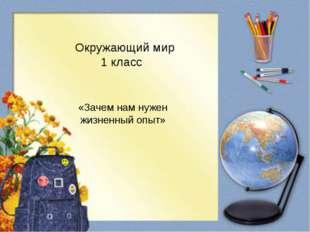 «Зачем нам нужен жизненный опыт» Окружающий мир 1 класс