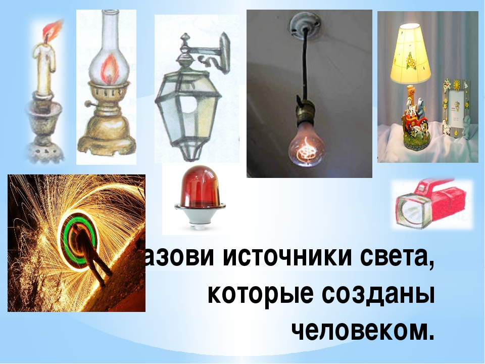 Назови источники света, которые созданы человеком.