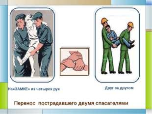 На«ЗАМКЕ» из четырех рук Друг за другом Перенос пострадавшего двумя спасател