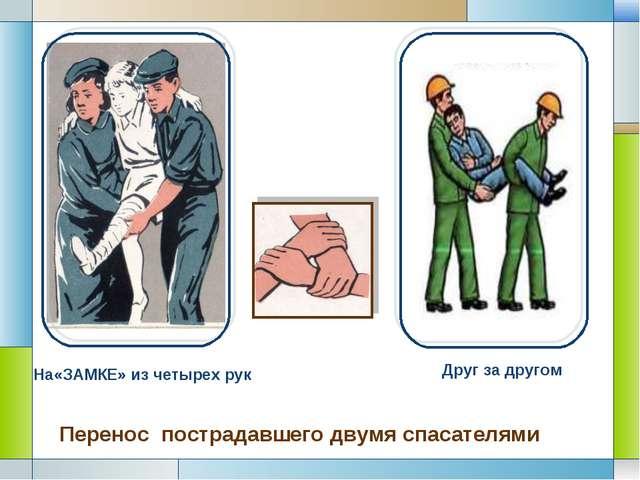 На«ЗАМКЕ» из четырех рук Друг за другом Перенос пострадавшего двумя спасател...