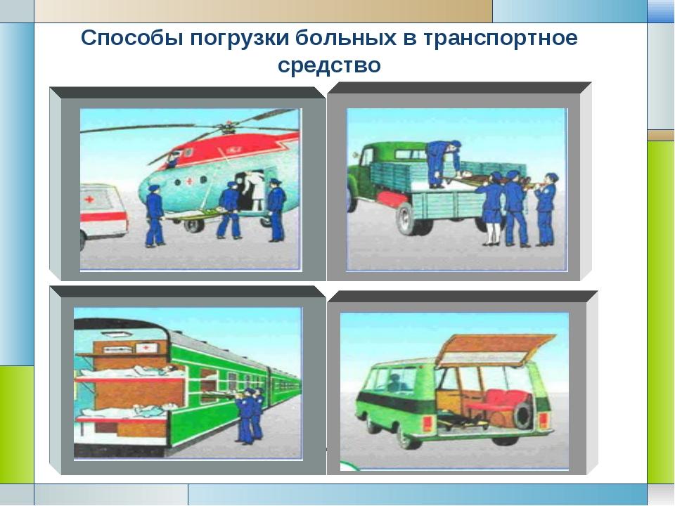 Способы погрузки больных в транспортное средство Company Logo LOGO