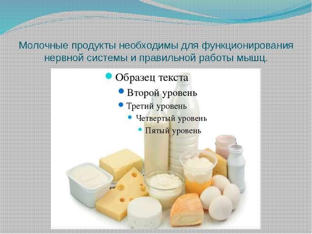 Молочные продукты необходимы для функционирования нервной системы и правильно...