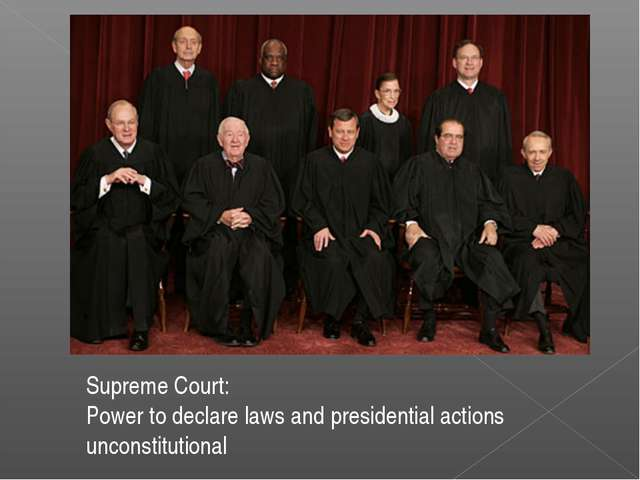 Supreme Court: Power to declare laws and presidential actions unconstitutional