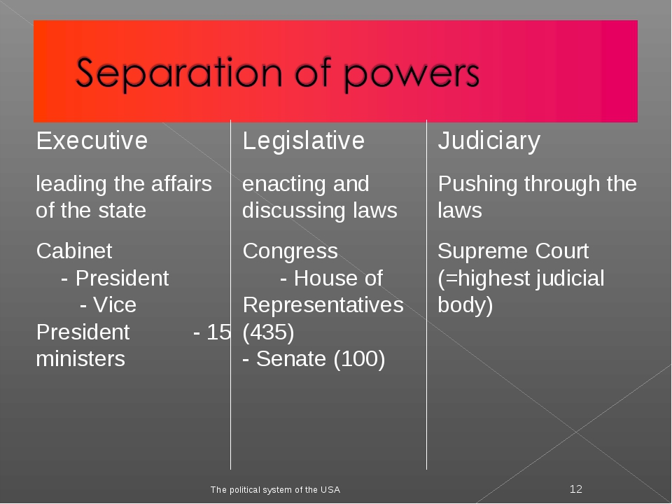 The political system of the USA * Executive leading the affairs of the state...