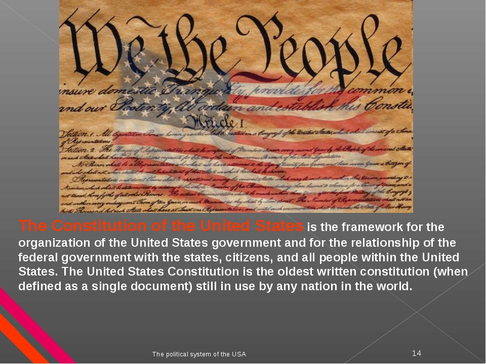 The political system of the USA * The Constitution of the United States is th...