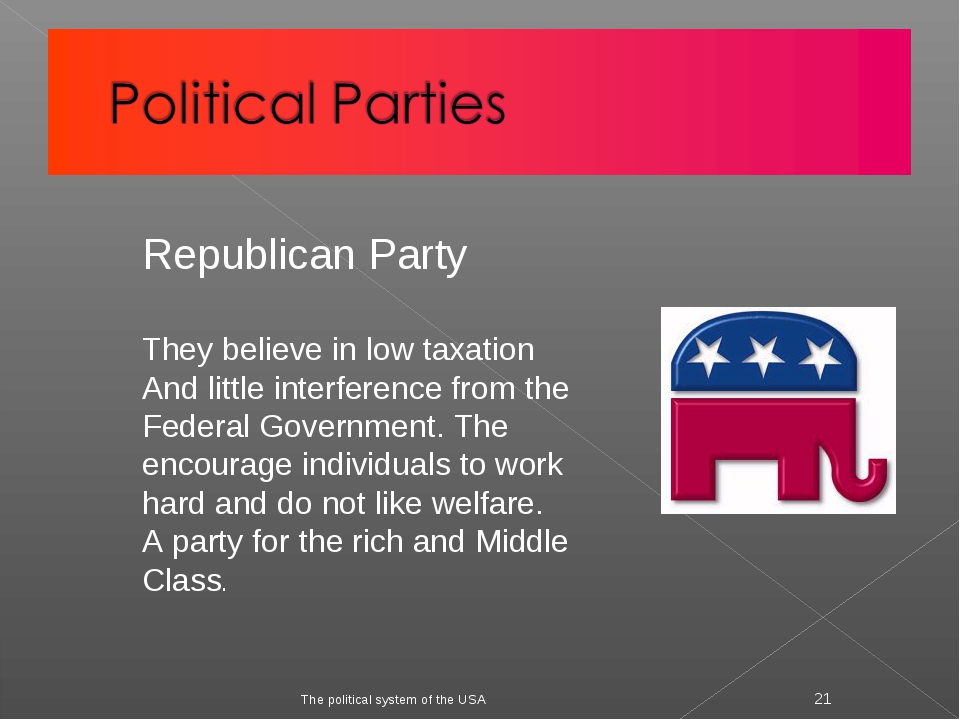 The political system of the USA * Republican Party They believe in low taxati...