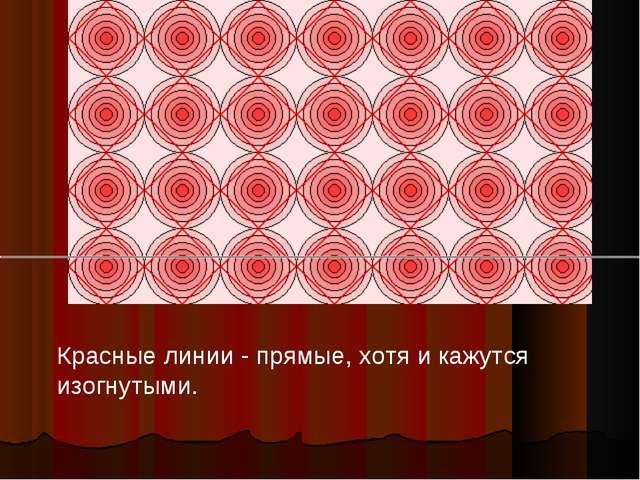 Красные линии - прямые, хотя и кажутся изогнутыми.