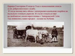 Царица Екатерина II издала Указ о пожаловании земель за их добросовестную слу